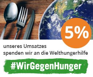 2% unseres Gesamtumsatzes spenden wir an die Welthungerhilfe