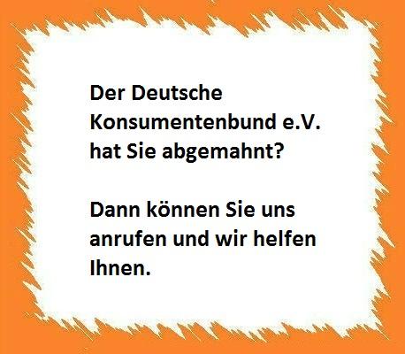 Deutscher Konsumentenbund Ev Verschickt Abmahnung